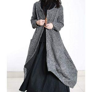 Maxi Tweed Jacket Bud Hemline Full ZipGray